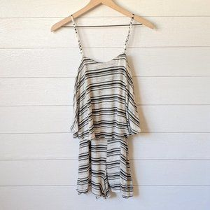 Lush Black & White Striped Layered Top Rom…
